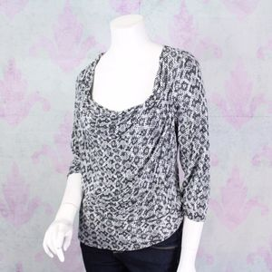 Michael Kors Snakeskin Stretch Knit Cowl Neck Top